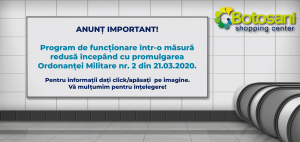 ANUNȚ IMPORTANT – Program funcționare redus!