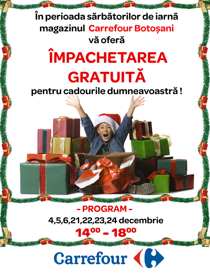Serviciul Impachetat gratuit pentru cadouri!