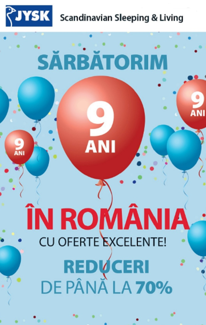 JYSK sarbatoreste 9 ani in Romania